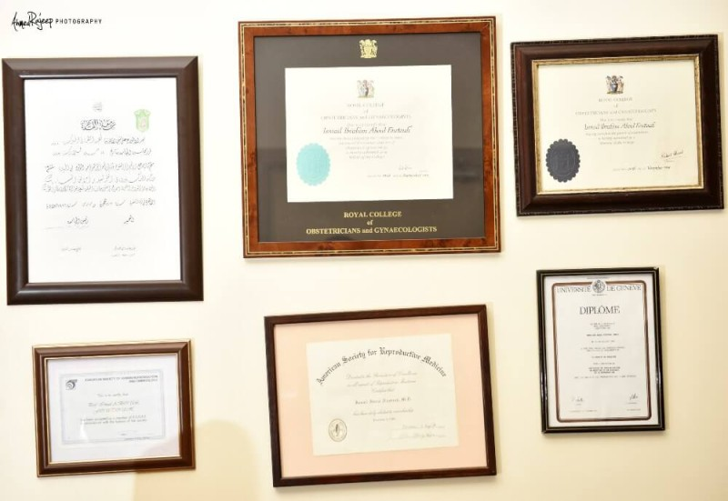 Prof. ismail aboul foutouh certificates at his office